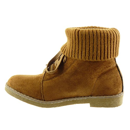 finish Block Fashion high topstitching heel Angkorly boots CM Shoes 5 Camel seams Ankle Booty crochet Women's 2 0q5gqT