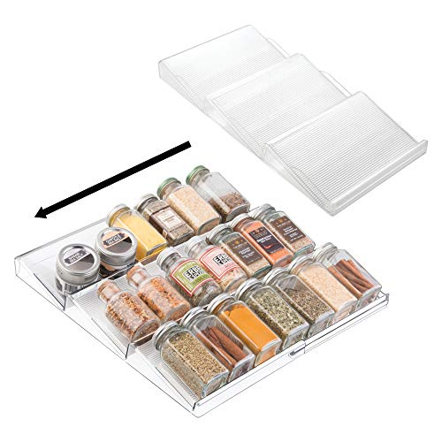 mDesign Adjustable, Expandable Plastic Spice Rack, Drawer Organizer for Kitchen Cabinet Drawers - 3 Slanted Tiers for Garlic, Salt, Pepper Spice Jars, Seasonings, Vitamins, Supplements, 2 Pack - Clear