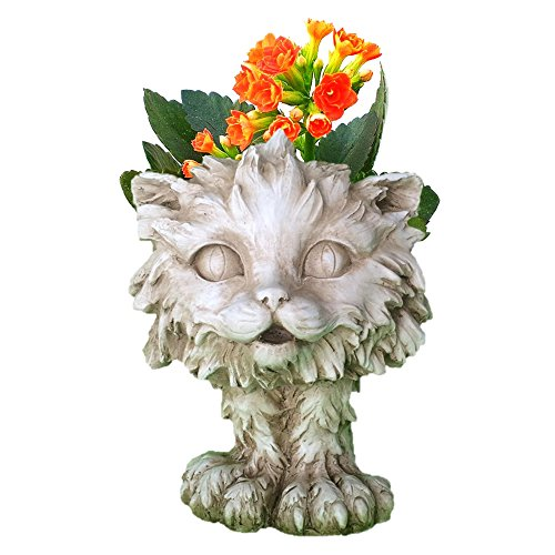 Homestyles Muggly #37605 Scruffy the Kitty Cat Animal Face Planter 12″ Antique White Garden Statue