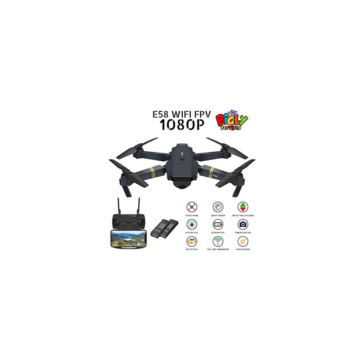 SaleProductsOffer - No.1 Best Online Store 51jSbMXxZJL Bigly Brothers E58 S Edition Drone Upgraded with 1080P HD Camera 120° Wide-Angle Lens. Plus 1 Key 360 flip and 1 Key take Off/Landing functionality. Foldable Drone with Extra 3.7V 500mAh Lipo Battery
