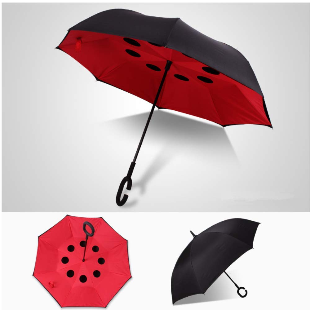 YATEN Mini Piccolo con Un Piccolo ombrelloOmbrello Doppio Ombrello retromarcia Nero