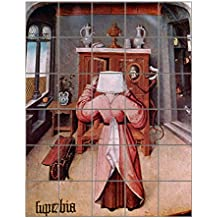 "Scenes Of Seven Deadly Sins #2 (Bosch) Vertical Tile Mural Satin Finish 36""Hx30""W 6 Inch Tile"