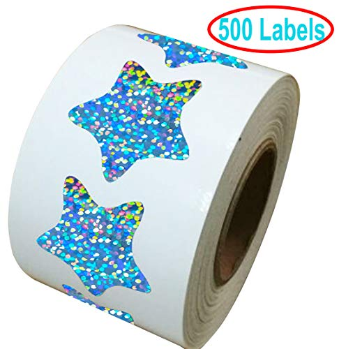 1.2 Inch Glitter Foil Metallic Star Shape Stickers Shiney Sparkly - 500 Smallpox Class Stars Sticker Roll Labels - Self-adhesive Scrapbooking Party Favors Teacher Supplies (Glitter star stickers)