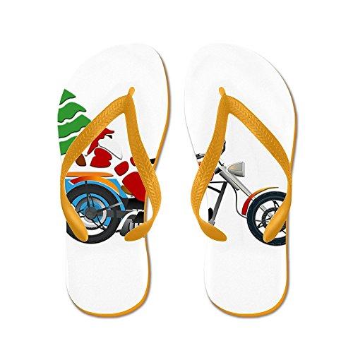 Echt Teague Mens Holiday Biker Santa Op Zijn Motor / Chopper Rubberen Slippers Sandalen Oranje
