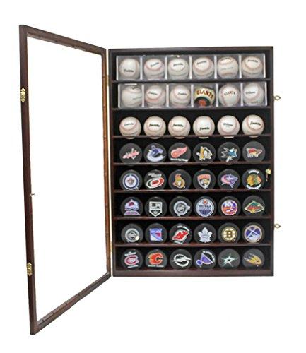 48 Baseball, Baseball Cubes, Hockey Pucks Display Case Holder Wall Cabinet, UV Protection Door, Lock. (Mahogany Finish) (Frame Hockey Puck)