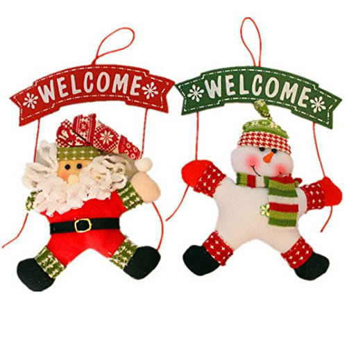 - USGreatgorgeous Christmas Wreath for Front Door Hang Garland with Santa Claus Snowman Ornaments Wreath Holiday Door Hanger Wall Car Decoration (Santa)