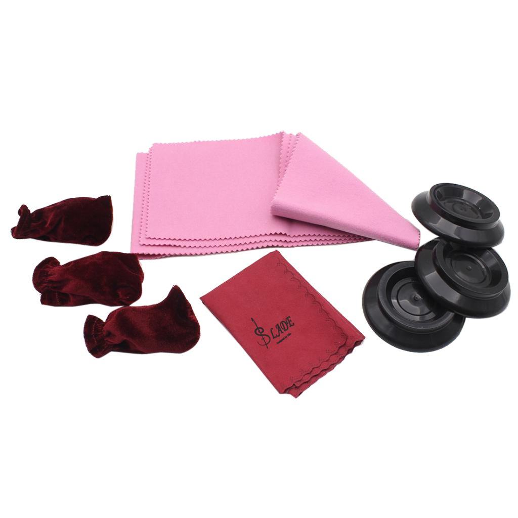 Baosity 1set Piano Cloth Piano Cover Caster Cup Foot Pad Set 4 Pieces of Pack for Pianist