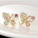 IFormula Butterfly Ear Studs Fashion Multicolour Rhinestone Earrings