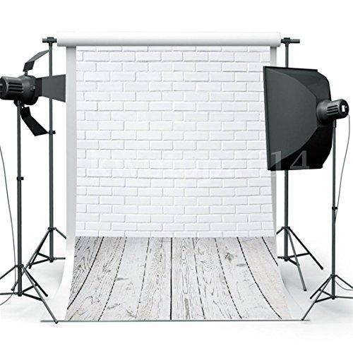 Lelinta 3x5ft White Wooden Floor Brick Wall Backdrops Studio Props