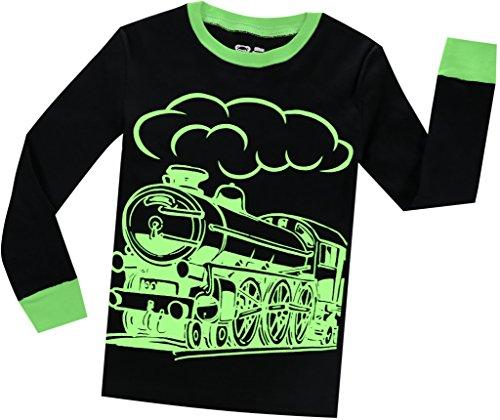 Boys Train Pajamas Christmas Pjs for Boys Sleepwear Children Clothes Glow in The Dark Size 3 by BebeBear (Image #3)