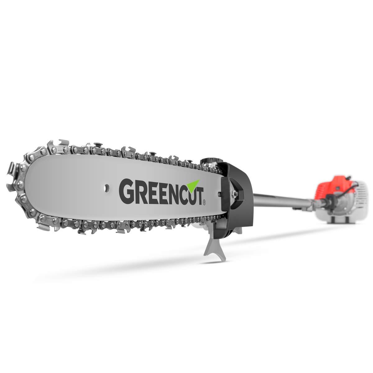 Greencut PP650X - Podadora de altura con motor gasolina de 2 tiempos de 56cc y 4,9cv, altura máxima de 5m con las 3 barras extensibles