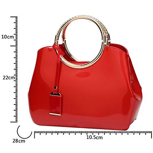 patent Women's shoulder leather Messenger bag handbag handbag leather Red bag ladies Tisdaini fashion wallet xZCqawSS