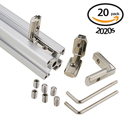 Boeray Europe Standard Aluminum Profile 2020 Series T Slot 6mm Inner Bracket Joint with Screws, Pack of 20 + 2 wrench