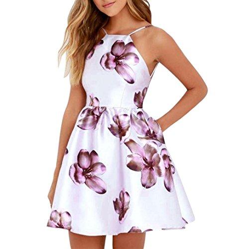 Price comparison product image Conina Dress for Women Fashion Spaghetti Strap Floral Print Beach Style Skater A Line Mini Dress (Purple,  S)