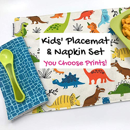 Kids Cloth Placemat and Napkin Set For Lunches Montessori School Waste - Placemat Free Set