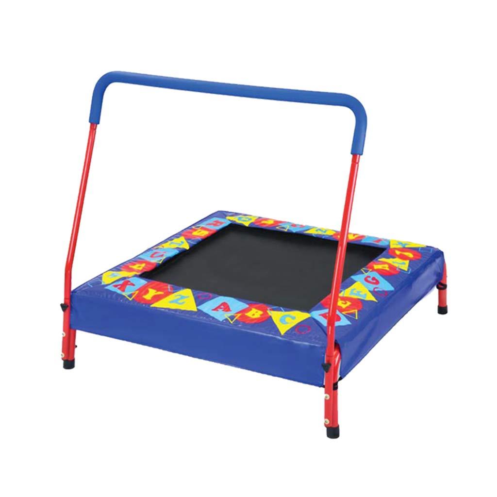Gartentrampoline Trampolin-Kinderheim-Sprungbett Innentrampolin-Kindertrampolin Kindertrampolin mit Haltegriffen (Farbe : Blau, Größe : 92  92  24cm)