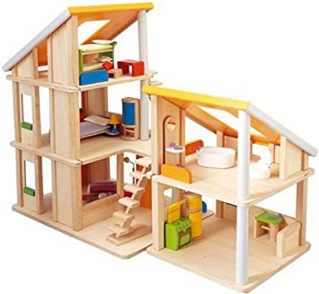 Amazoncom Plan Toy Chalet Doll House with Furniture Toys Games