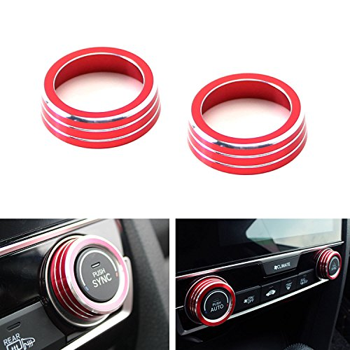 iJDMTOY 2pcs Red Anodized Aluminum AC Climate Control Ring Knob Covers For 2016-up 10th Gen Honda (Honda Civic Mugen)