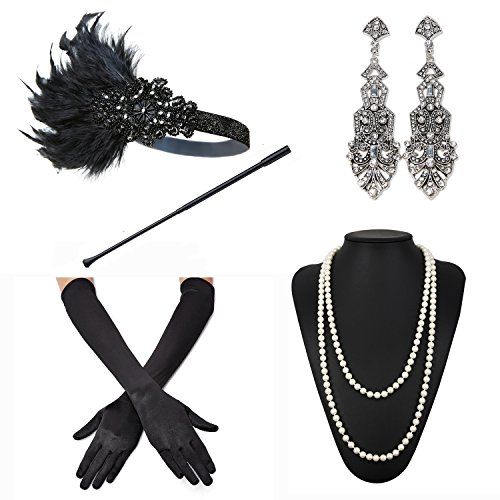 Costumes 1920's Ladies (1920s Accessories Feather Jewel Headband Faux Pearl Necklace Gloves Cigarette Holder by)