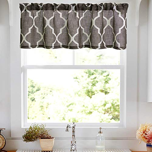 - Lazzzy Small Window Valance Curtains Home Decor Valance Curtains Drapes Half Window Curtains 50W by 16L inches Cholocate Brown 1 Panel