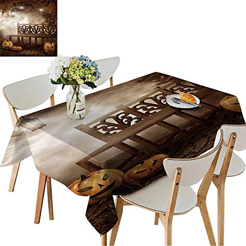 UHOO2018 Fitted Polyester Tablecloth   Halloween Scenery with a Bench and Pumpkins Square/Rectangle Washable for Tablecloth,52 x 70inch -