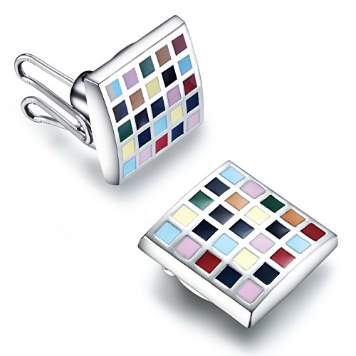 (BUTTONCUFF Polychrome Square Button Covers - Imitation Cuff Links for Shirts, Cuffs, Collars and Jackets (SQ-19))