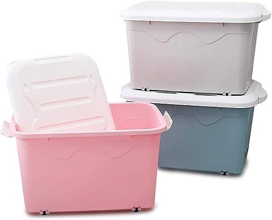 GaoXu Storage Boxes Cajas de Almacenamiento de Almacenamiento, 2 Paquetes Extra Grandes, Caja de Almacenamiento de plástico con Ruedas, para Libros, Ropa, Cajas de Almacenamiento: Amazon.es: Hogar