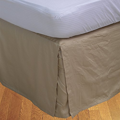 BudgetLinen (1 Box Pleated Bed skirt Only,Taupe , Twin , Drop Length 21 inches) 100% Egyptian Cotton Luxurious 300 Thread Count - Custom Drop Pleated Bed Skirt
