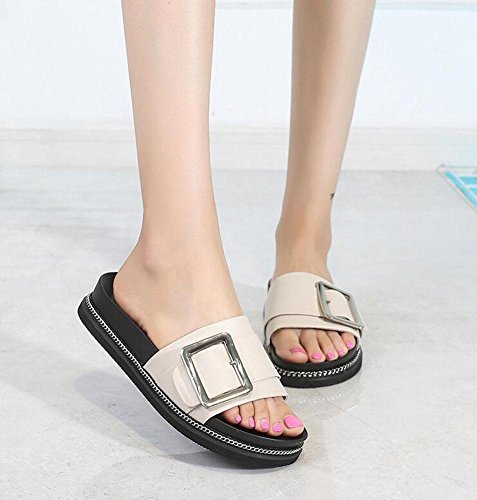 Slippers 2017 Summer Buckle Bottom Open Leather Belt Chain Slippers Shoes Beige Beach Thick Women Female Sandals Metal Sandals Shoes Flat Students qIwwC0Y
