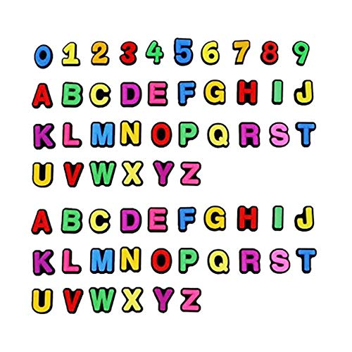 Shoes Charms Decorations 62pcs 2 Sets A-Z Letters Aphabet and 1 Set Numbers Shoe Charms Clog Jibbitz Wristband Bracelet Christmas Gifts for Teen Girls
