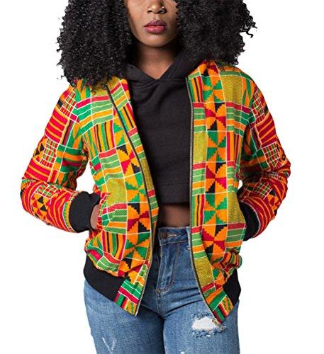 African Print Clothing - Remelon Womens African Geometry Print Classic Zipper Biker Bomber Jacket Short Coat Yellow S