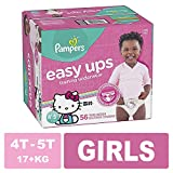 Pampers Easy Ups Pull On Disposable Training Diaper for Girls Size 6 (4T-5T), Super Pack, 56 Count