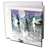 3dRose Fairies And Unicorn In The Snow - Greeting Cards, 6 x 6 inches, set of 12 (gc_18579_2)