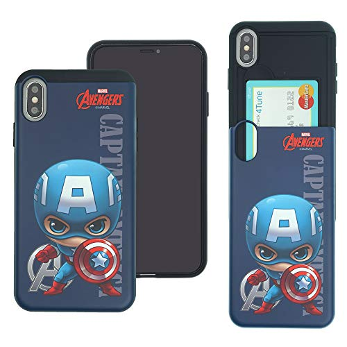 iPhone Xs/iPhone X Case Marvel Avengers Slim Slider Cover : Card Slot Shock Absorption Dual Layer Holder Bumper for [ iPhone Xs/iPhone X ] Case - Mini Captain America ()