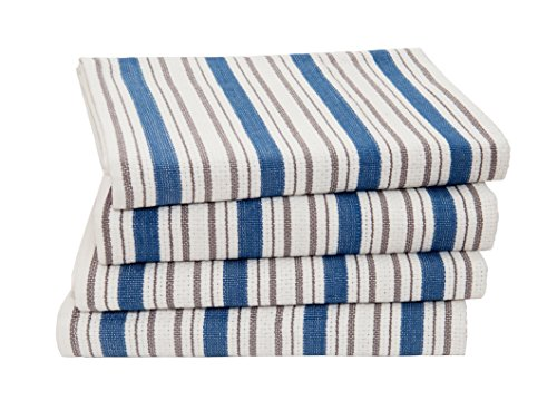 Cotton Craft - 4 Pack Oversized Kitchen Towels, 20x30 - Azure Blue, Pure 100% Cotton, Crisp Basket weave striped pattern, Convenient hanging loop - Highly absorbent, Professional Grade, Soft yet Sturdy (Dishes Pottery Barn)
