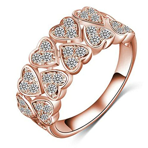 Alimab Womens Jewelry Elegant 18K Rose Gold Plated Heart Cubic Zirconia Engagement Ring,Size 9 (Game T Shirt Halo Video Boys)