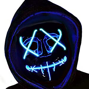 CHARMCZ Halloween LED Light Up Mask Scary Purge Mask Cosplay Costume Glow EL Wire Masks for Christmas Festival Party
