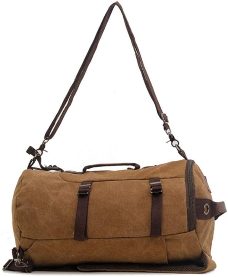 Fklee Canvas Backpack One Shoulder Diagonal Casual Large Capacity Multi-Function Male Bag Travel Mountaineering Bag Unisex Casual Rucksack Satchel Bookbag Color : Coffee Color