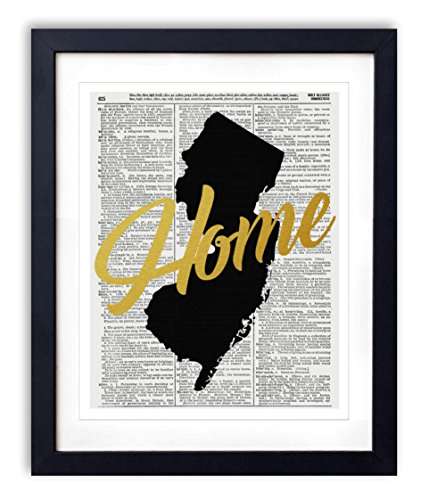 "New Jersey Home Gold Foil Art Print - Vintage Dictionary Reproduction Art Print ""Home"" Definition 8x10 inches Unframed"