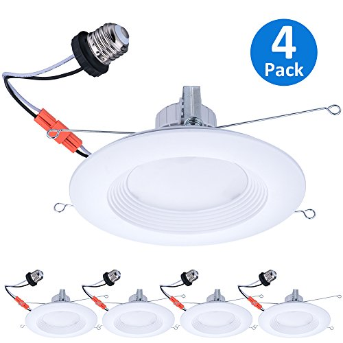 - AmeriLuck 5/6 inch Recessed Lighting Fixture LED Retrofit Downlight Kit, CRI 90+ Cool White|4000k, Wet Rated Baffle Trim,10-100% Dimmable, 65W Equivalent 650+Lumens/11.5W, UL|FCC Listed 4 Pack
