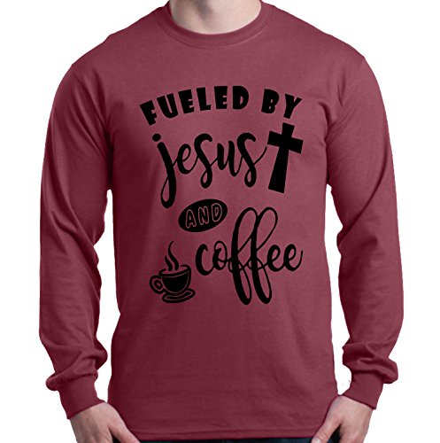 Shop4Ever Fueled by Jesus and Coffee Long Sleeve Shirt Medium Maroon 0