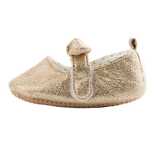 Dicry Baby Girls Soft Sole Non-Slip Sparkly Shoes Gold Velcro Buckle Mary Jane Shoes with Sequins Bowknot for 6-12 Months Infant - Image 3