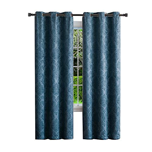 Warm Home Designs 1 Pair 2 Panels of Dark Blue Teal Insulated Thermal Blackout Curtains with Embossed Textured Flower Pattern Each Grommet Top Window Panel is 38quot X 96quot in Size EV Teal 38x96
