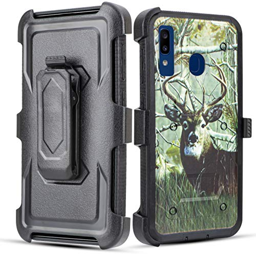 Galaxy A20 / A30 / A50 Case, 6goodeals Full Body with Built-in [Screen Protector] Heavy Duty Rugged Holster Armor Case [Belt Swivel Clip][Kickstand] for Samsung Galaxy A20 Case (Deer) (Boost Mobile Cases)