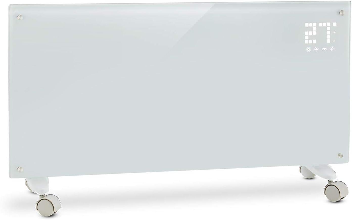 KLARSTEIN Bornholm - Calefactor convector eléctrico, Monitor LED camuflado, Control Remoto, Modo Eco, Programable por Horas hasta 24, Panel de Cristal, Radiador de 1000/2000W, Blanco Floral