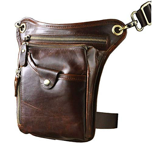 Le'aokuu Mens Genuine Leather Motorcycle Horse Riding Waist Pack Drop Leg Cross Over Bag 211-5 (211-5 Brown)