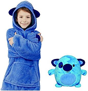 Huggle Pets Hoodie 2019 Children Oversized Blanket Hooded Sweatshirt With Large Pocket Jumper Plush Animal Pullover Bathrobe Pillow One Size Fits Boys Girls Age 3 Blue Puppy Amazon Co Uk Clothing