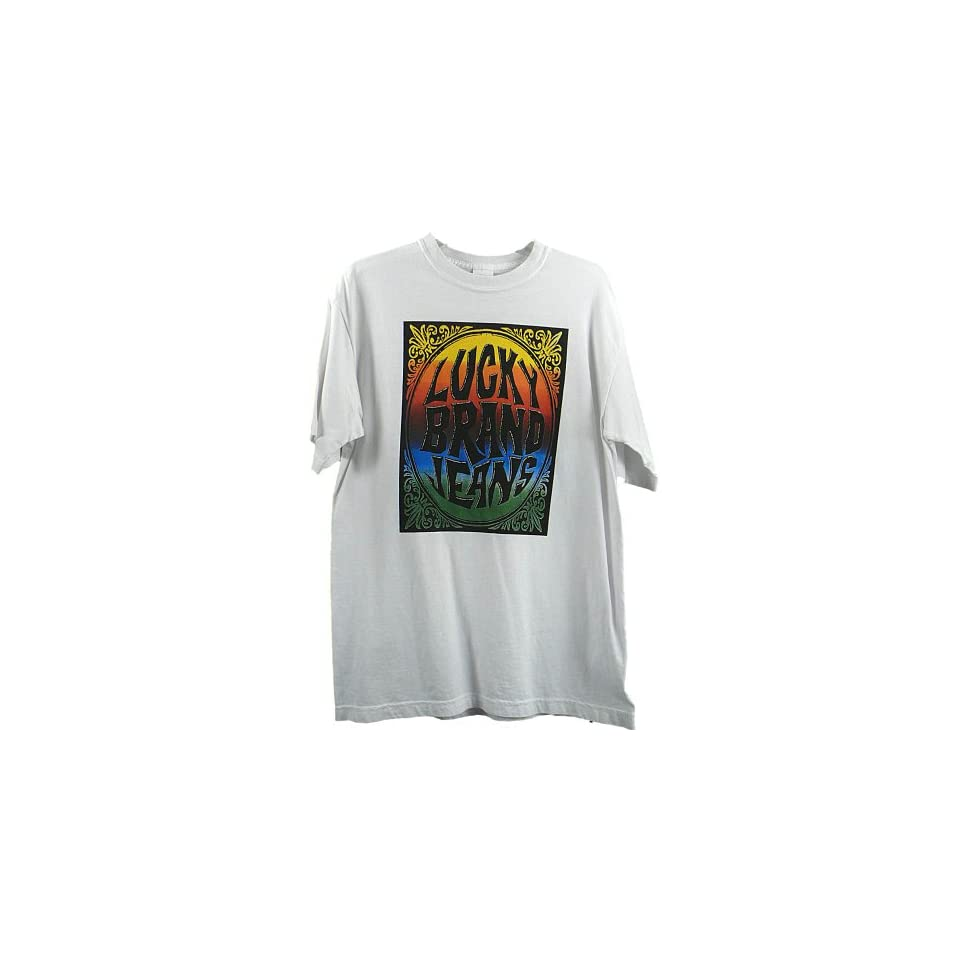Mens Lucky Brand Jeans T Shirt Tee Logo White S