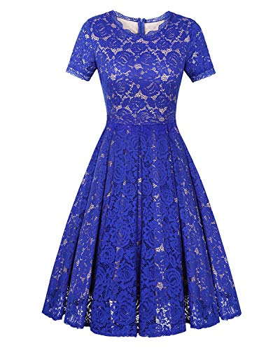 (Twinklady Women's Vintage Full Lace Bell Sleeve Big Swing A-Line Dress)