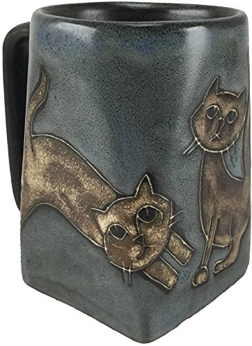 - One (1) MARA STONEWARE COLLECTION - 12 Oz Coffee Cup Collectible Square Bottom Blue Dinner Mug - Kitten Cats Design